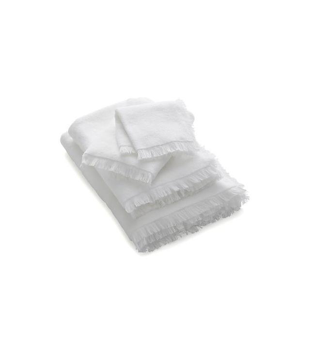 Crate & Barrel White Fringe Bath Towels