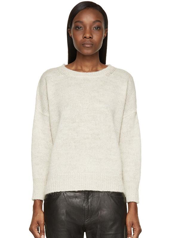 Etoile Isabel Marant Ecru Peruvian Knit Cropped Risha Sweater