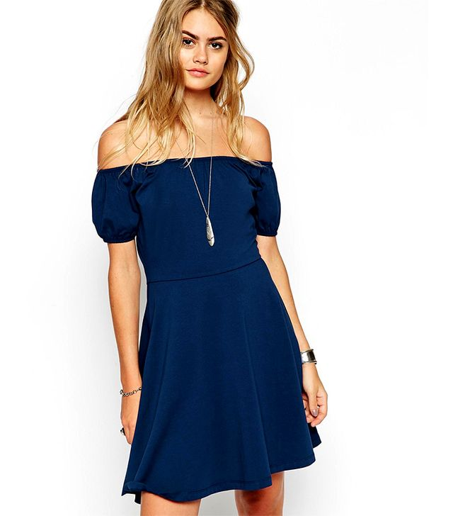 ASOS Skater Dress With Off Shoulder and Gypsy Detail