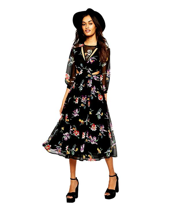 ASOS Boho Midi Dress in Floral Print With Cut Out Detail
