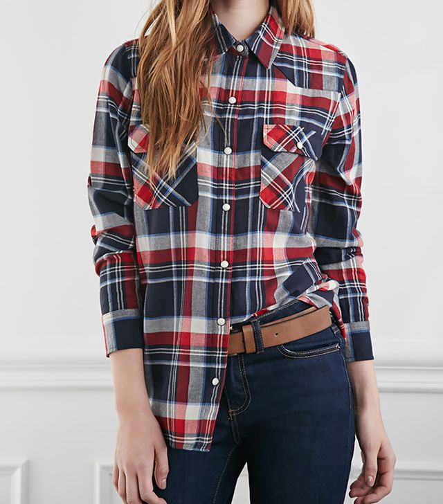Forever 21 Two-Pocket Plaid Flannel Shirt