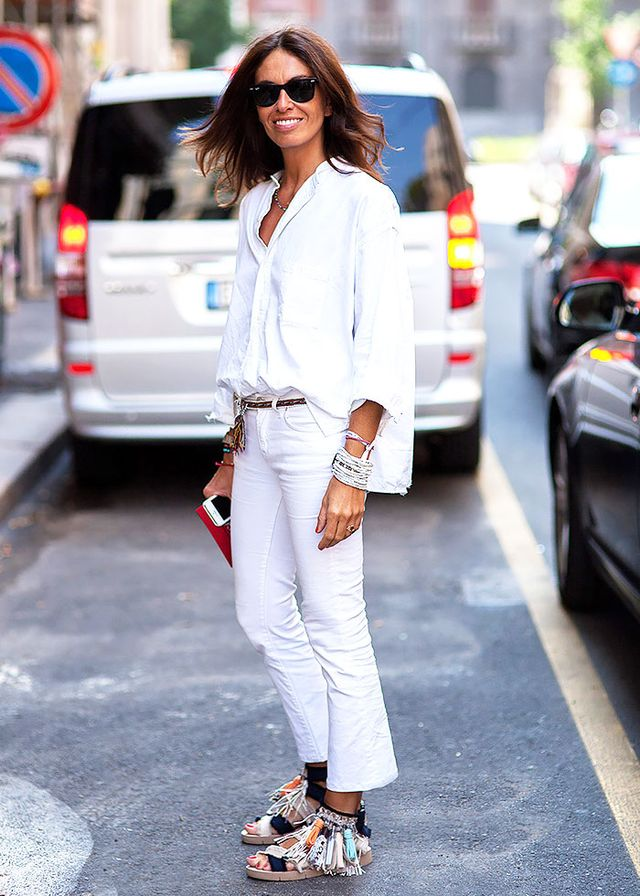 Style Tip: Offset a bold white-on-white look with a thin tassel belt and statement sandals.