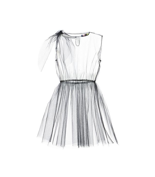 MSGM Black Tulle Dress Overlay
