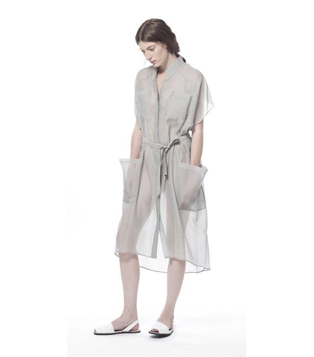 Schai Ultime Fog Sheer Voile Shirt Dress