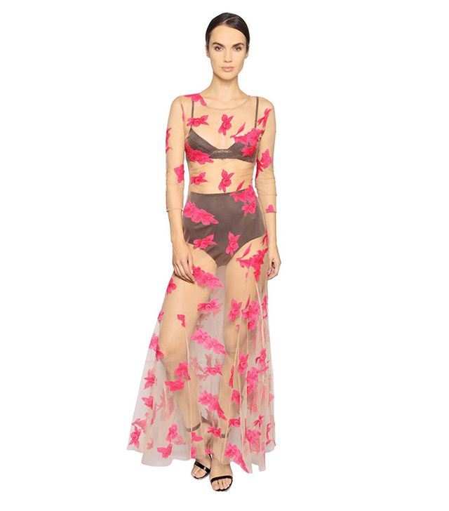 For Love & Lemons Orchid Embroidered Tulle Dress