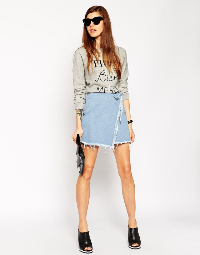 ASOS Denim Raw Edge Asymmetric Wrap Mini Skirt
