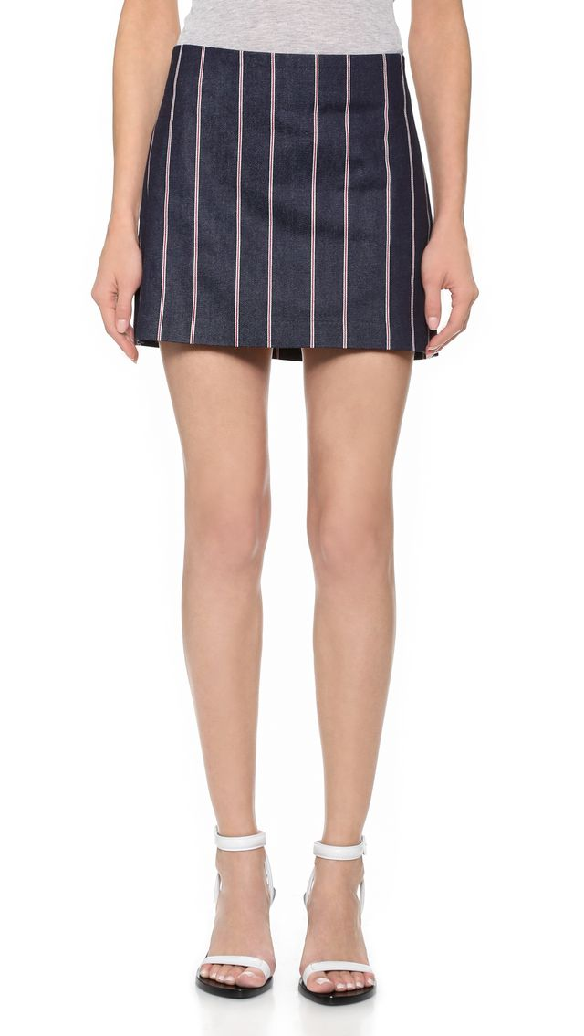 T by Alexander Wang Selvedge Stripe Denim Miniskirt