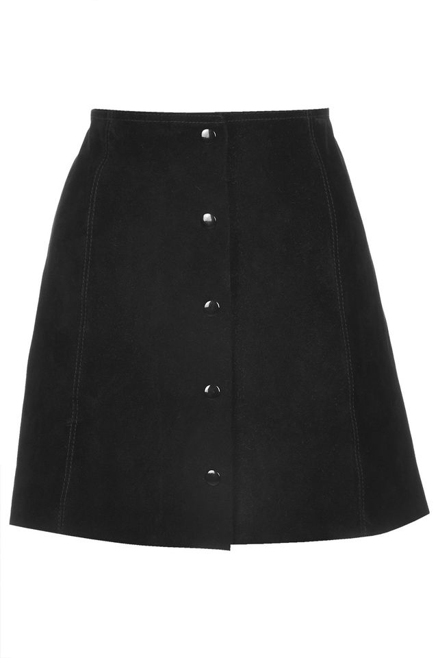 Topshop Suede A-Line Popper Front Skirt