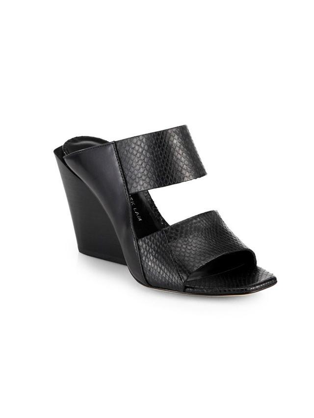 Derek Lam 10 Crosby Cara Asymmetrical Snake-Embossed Leather Wedge Sandals