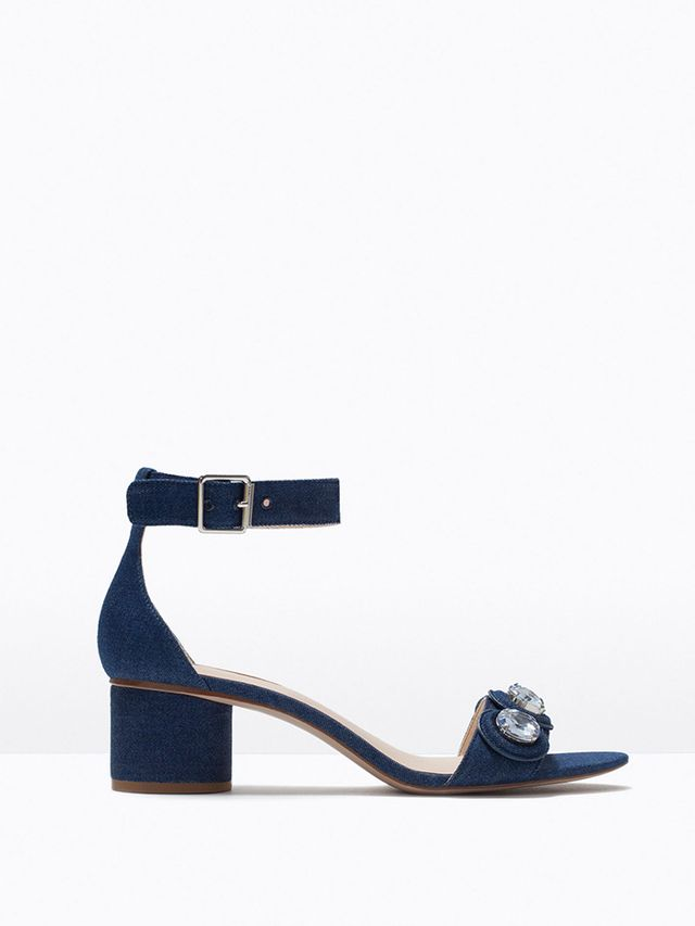 Zara Low-Heel Jewelled Sandals