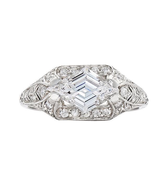 Fred Leighton 1920s Lozenge Shaped Diamond Platinum Ring