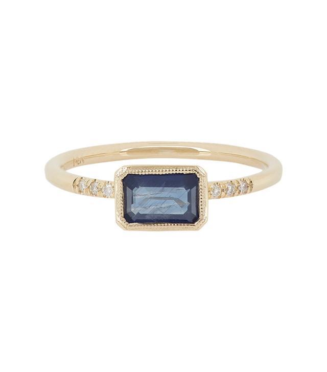 Jennie Kwon Sapphire, Pavé Diamond & Gold Ring