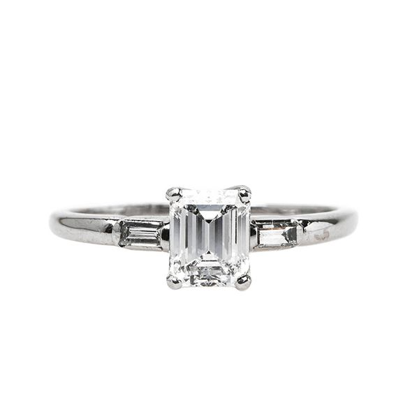Trumpet & Horn Classic Mid-Century Engagement Ring With Sparkling White Diamond