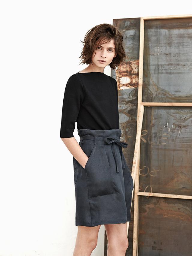Mango Linen-Blend Bow Skirt