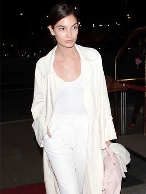 Look We Love: Lily Aldridge's Subtle Pop of Pink