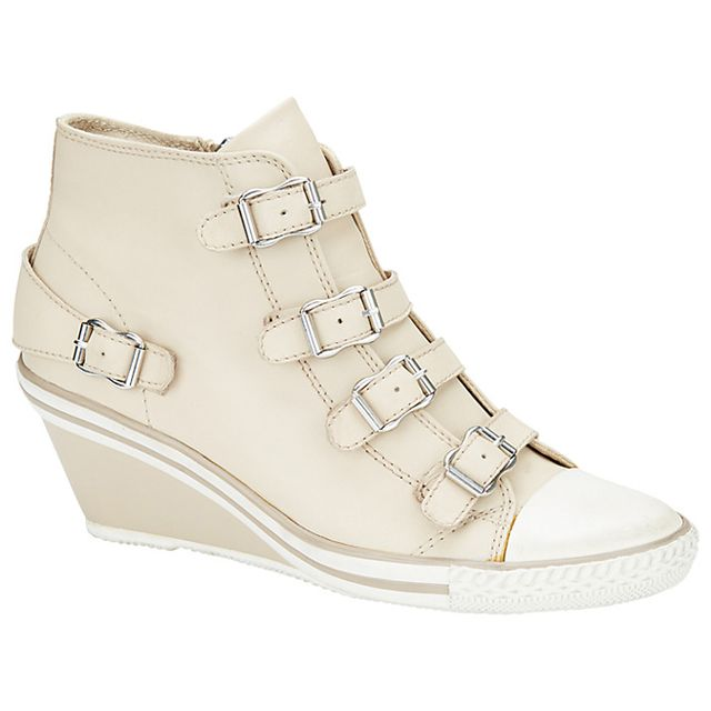 Ash Genial Mid-Wedge Leather Trainers in Natural