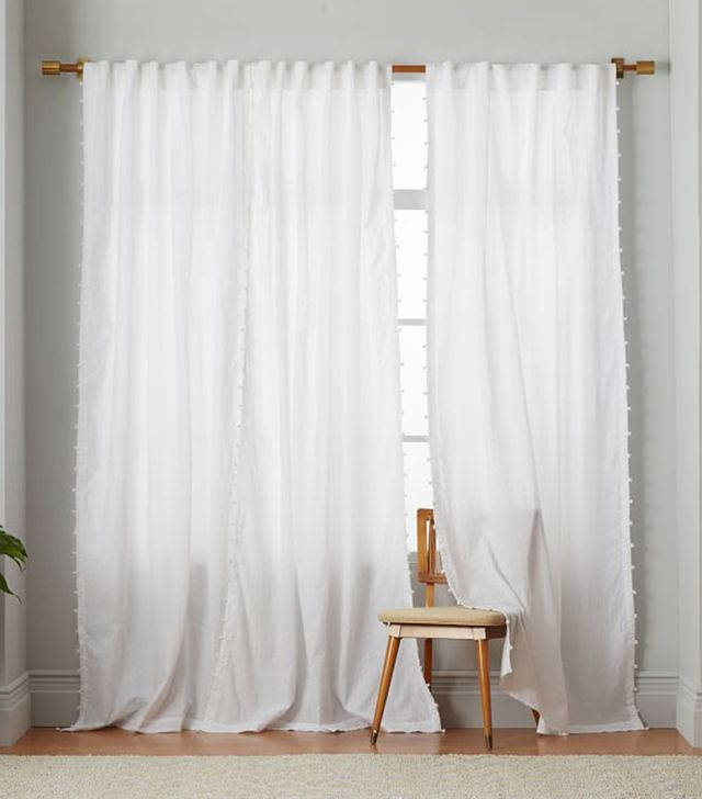 West Elm Batik Pom Pom Curtain