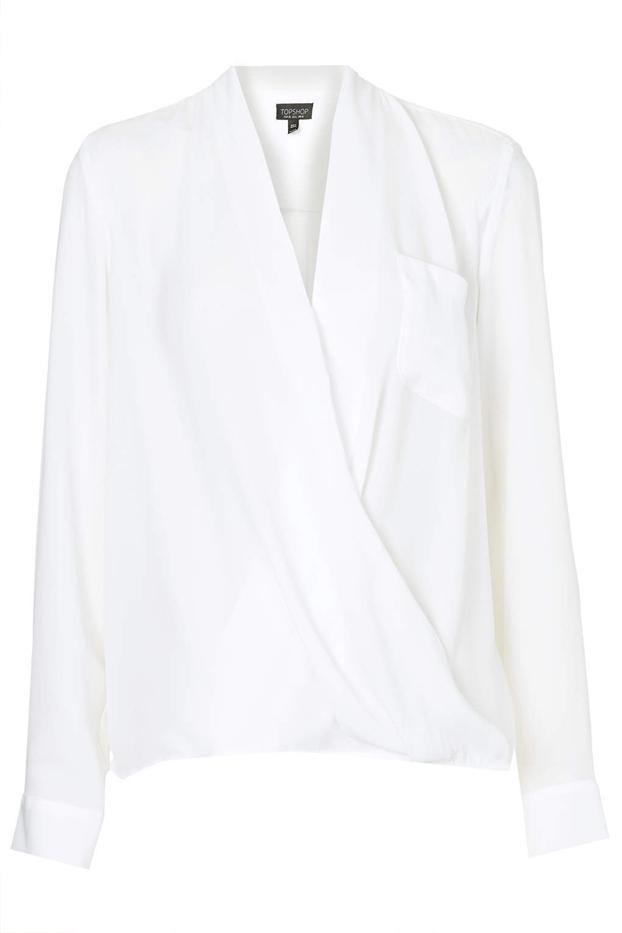 Topshop Drape Front Pocket Blouse