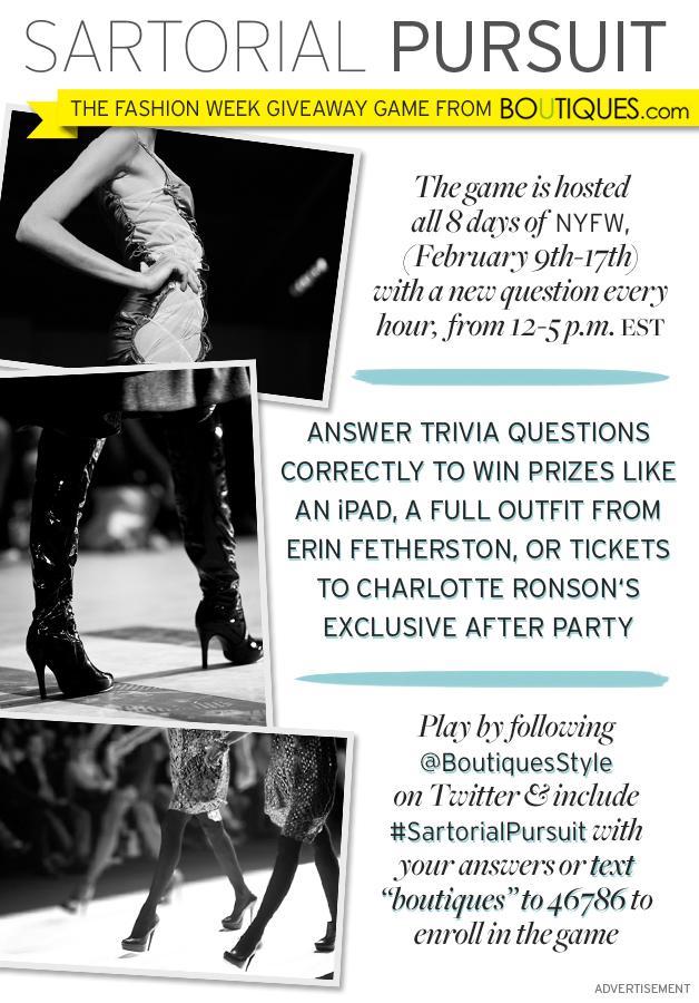Boutiques.com's Fashion Week Game,  Sartorial Pursuit