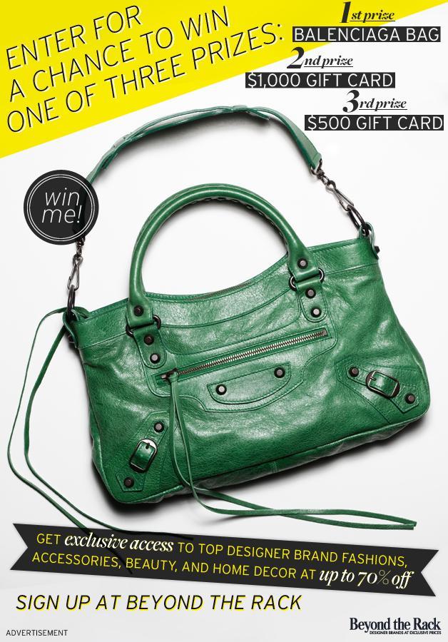 Win a Balenciaga bag or major shopping sprees from Beyond The Rack!