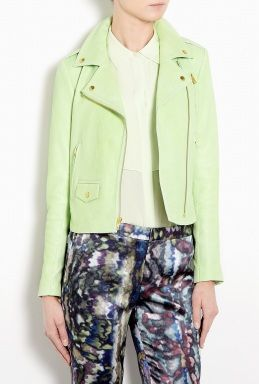 Theory  Green Elenian Textured Leather Biker Jacket