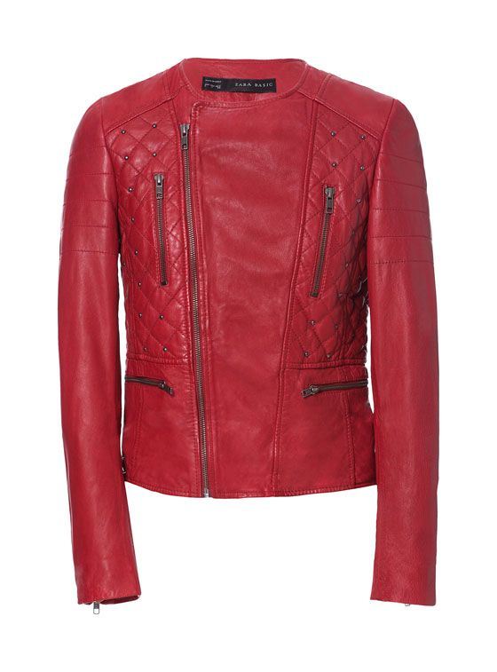 Zara  Leather Biker Jacket with Studs