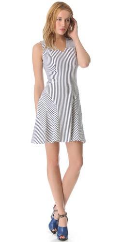 10 Crosby Derek Lam  V Neck Tulip Pinstripe Dress