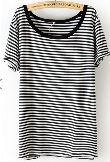 SheInside Black White Striped Short Sleeve Slim T-Shirt