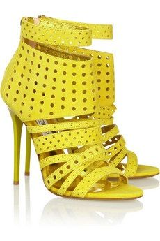 Jimmy Coo  Malike Perforated Suede Sandals