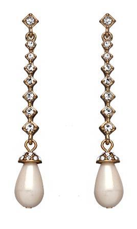 Carolee  White Pearl Crystal Drop Earrings