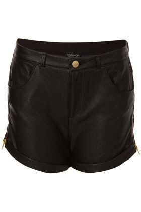 Topshop Topshop Zip Side Leather Look Shorts