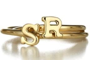 Sarah Chloe Sarah Chloe Stackable Shea Initial Ring