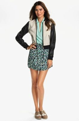 Two by Vince Camuto  Linen & Faux Leather Baseball Jacket