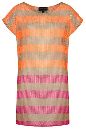 Topshop Tangerine Stripe Net Cover Up