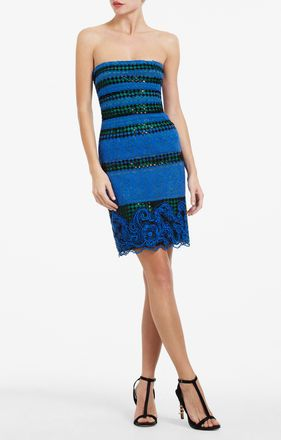 BCBGMAXAZRIA Manuela Strapless Embroidered Gown