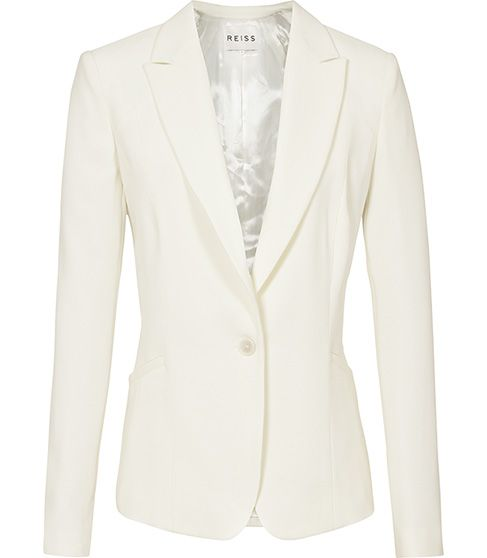 Reiss Tia Eve Curved Seam Jacket Off White