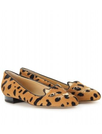 Charlotte Olympia Kitty Flat Animal Print Loafers