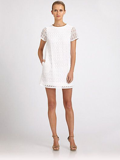 ABS Leather Trimmed Crochet Dress