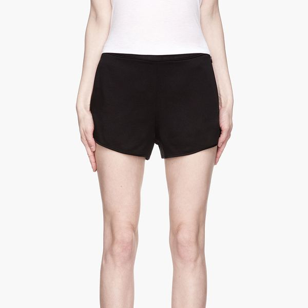 T by Alexander Wang Black Glossy Crepe Piped Waistband Tap Shorts