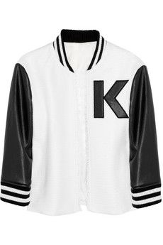 Karl Lagerfeld Jack Tweed and Faux Leather Varsity Jacket