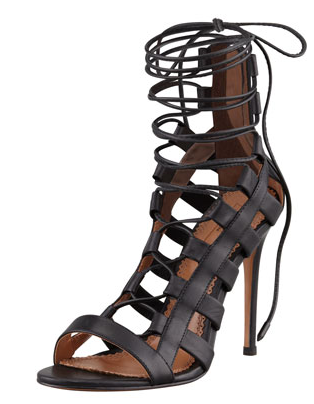 Aquazzura Amazon Lace-Up Ankle-Wrap Sandals