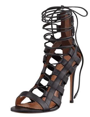 Aquazzura Amazon Lace-Up Ankle-Wrap Sandals