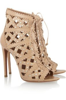 Alaia Studded Cutout Leather Sandals