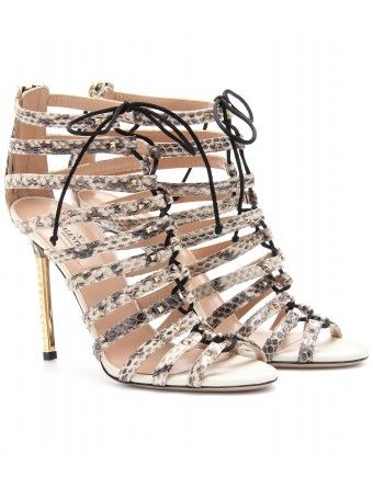 Valentino Snake-Embossed Leather Stilettos