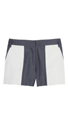 Tibi Cotton Cupro Paneled Shorts