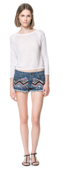 Zara Embroidered Denim Shorts