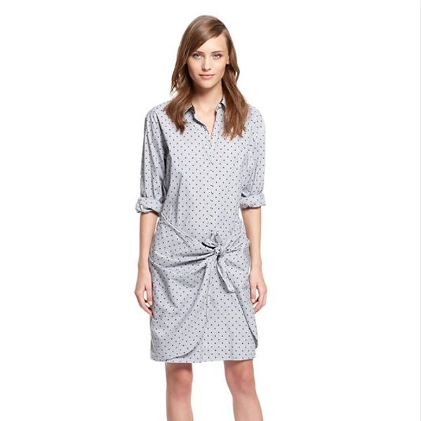 PureDKNY  Dot Printed Stripe Shirting Sarong Shirt Dress with Transformer