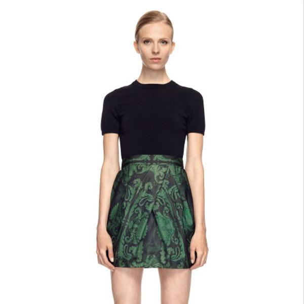 Vera Wang Ethnic Damask Faille Tulip Skirt