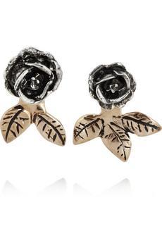 Pamela Love Silver and Bronze Rose Earrings