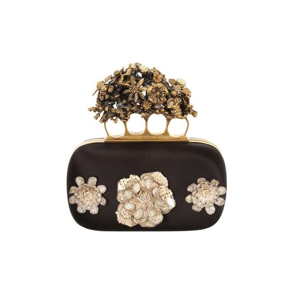 Alexander McQueen Flowers & Honeycomb Embroidered Short Knucklebox Clutch